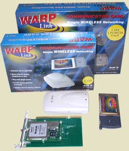 Линия продуктов Acer Warplink 1 mbps - карты ISA, USB, PCMCIA - WarpLink Communicator Card 2.4 GHz frequency hopping spread spectrum.